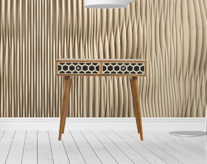 Mango Wood Console Table Solid Writing Desk Entryway Retro Style Hallway Unit Bone Inlay