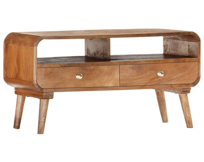 TV Unit Solid Mango Wood with Drawers Media Cabinet Stand Scandinavian Retro Style Lowboard