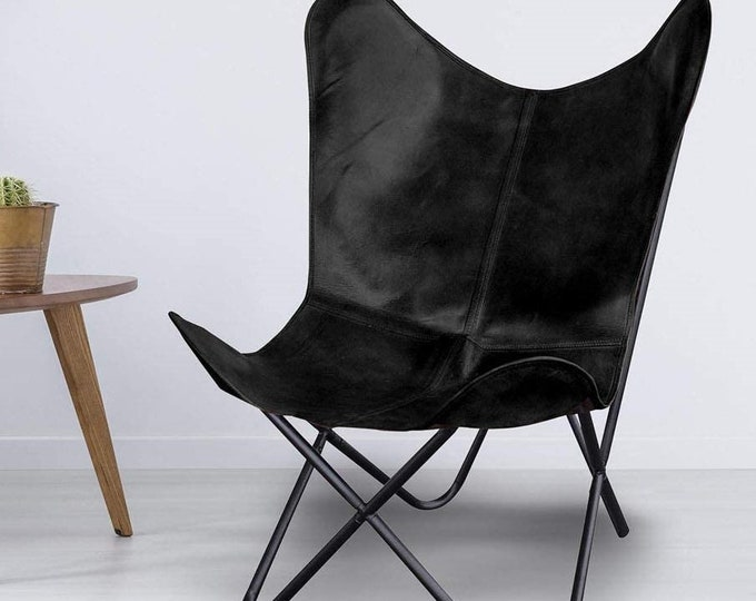 Retro Vintage Leather Chair Handmade Butterfly Chair Industrial Occasional Relax Black