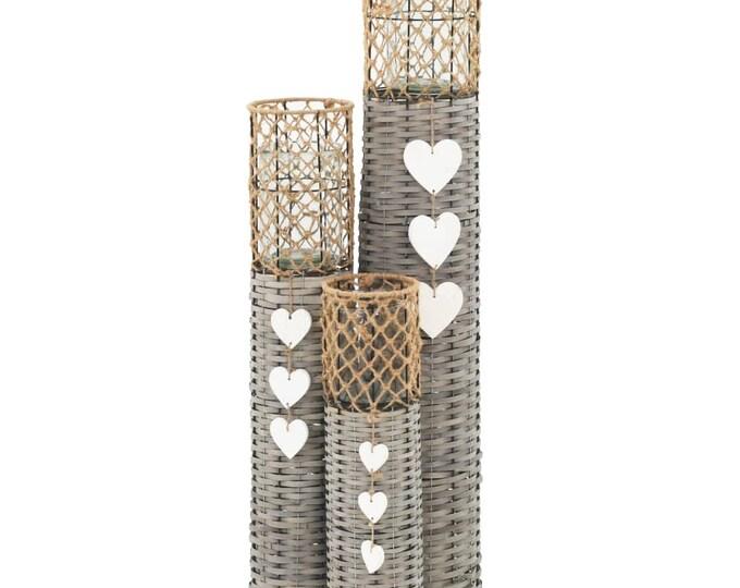 3pcs Handmade Wicker Candle Lanterns Set Freestanding Holders Real Rattan with Glass Jar