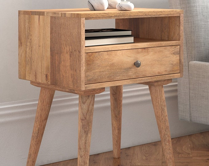 Scandinavian Style Bedside Table Nordic Retro Nightstand Side Table Solid Mango Wood Cabinet Unit