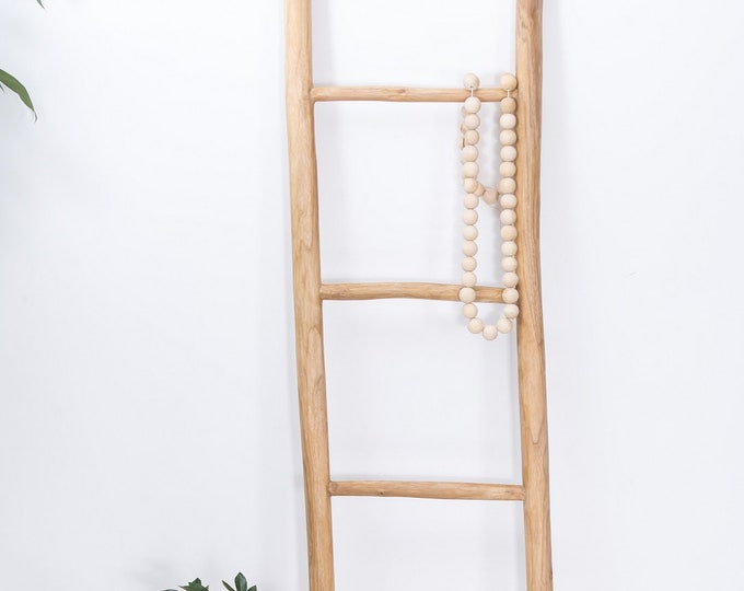 Tall Teak Blanket Towel Ladder with 5 Rungs Bathroom Rack Decor Shelf 150cm Boho Bohemian Handmade Rustic Scandinavian