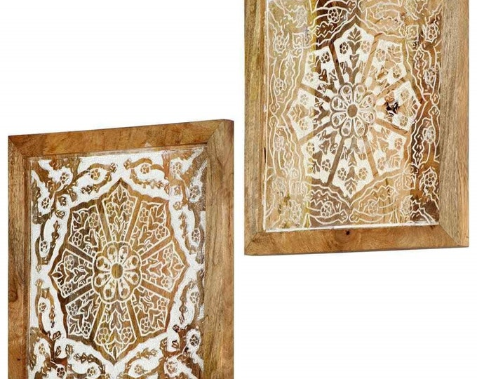 Rustic Wall Mounted Wooden Decoration Hand-Carved Panels Solid Mango Wood 2 pcs