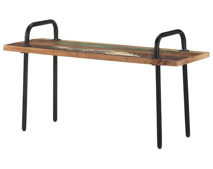 Industrial Bench Seat Solid Reclaimed Wood Vintage Rustic 2 Seater Loveseat Hallway