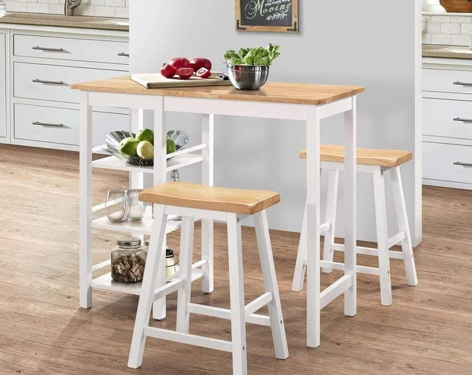 Breakfast Bar Table and Stools Set 3 Piece Kitchen Space Saving Compact White Bistro Country Style