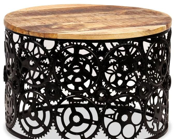 Industrial Coffee Table Solid Mango Wood Top Steel Steampunk Gearwheels Base Round Side Table Vintage Style Handmade