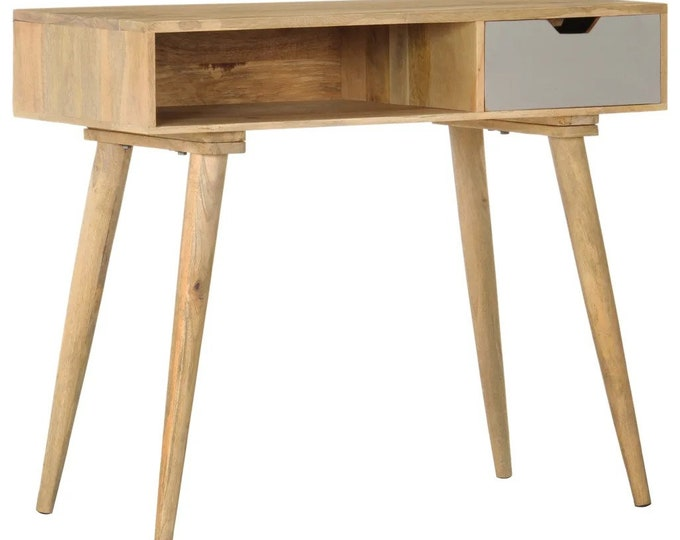 Mango Wood Console Table Solid Computer Laptop Writing Desk Hallway Unit Handmade Unique Nordic Scandinavian