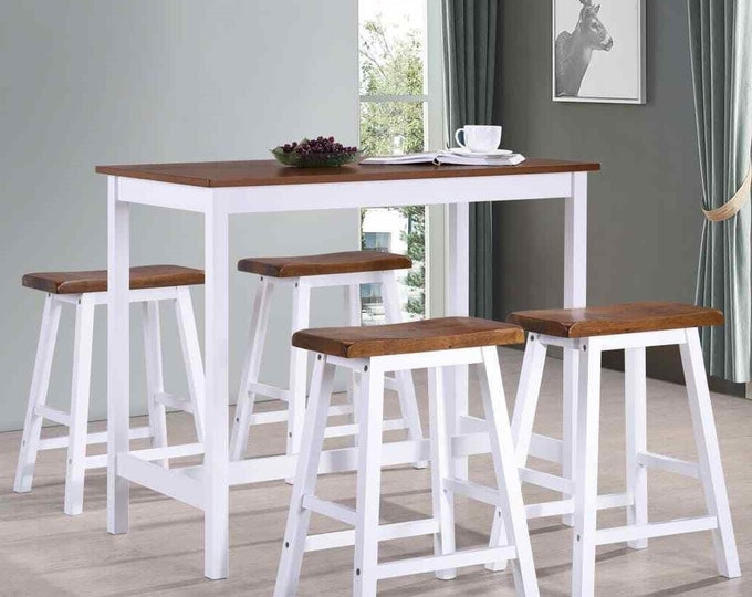 Breakfast Bar Table and Stools Set 5 Piece Country Style Kitchen Space Saving Compact White