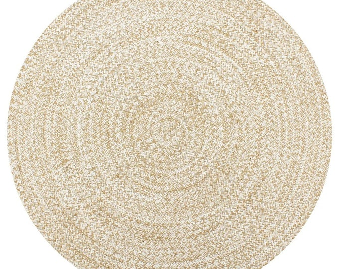 Handmade Round Rug Jute White and Natural Carpet Handwoven 90 cm