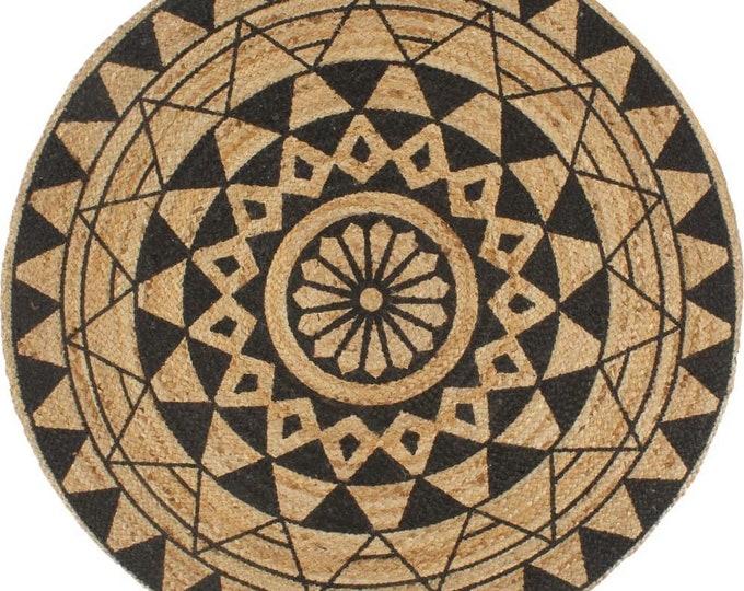 Handmade Large Round Area Rug Jute Black Flower Pattern Carpet Handwoven 150 cm Bohemian Boho