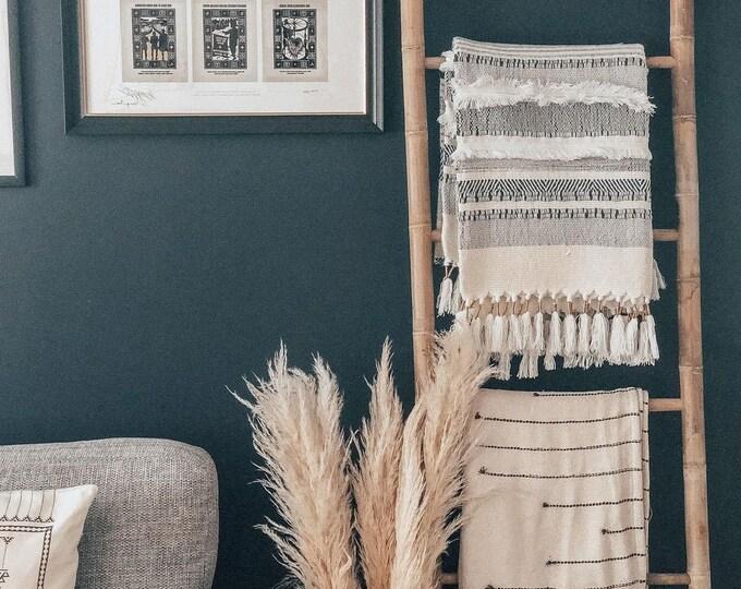 Tall Bamboo Blanket Towel Ladder with 5 Rungs Bathroom Rack Decor Shelf 171 cm