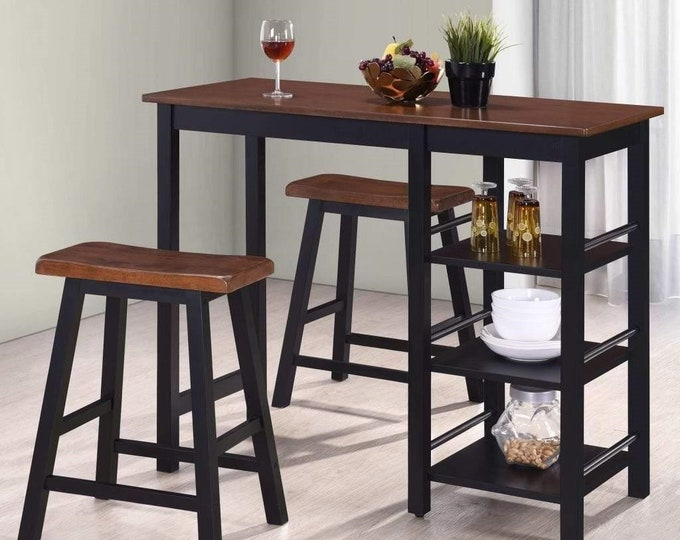 Breakfast Bar Table and Stools Set 3 Piece Kitchen Space Saving Compact Black Bistro Country Style