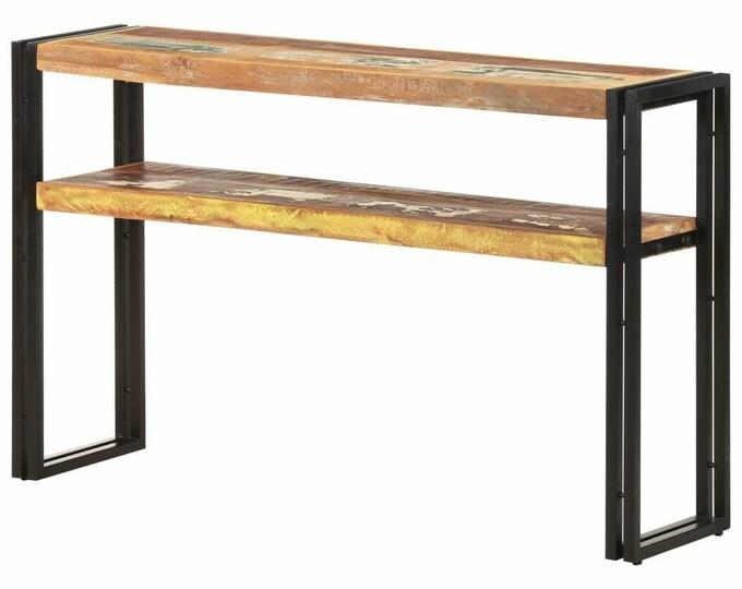 Industrial Console Table Shelf Side Hallway Slim Rustic Solid Reclaimed Wood