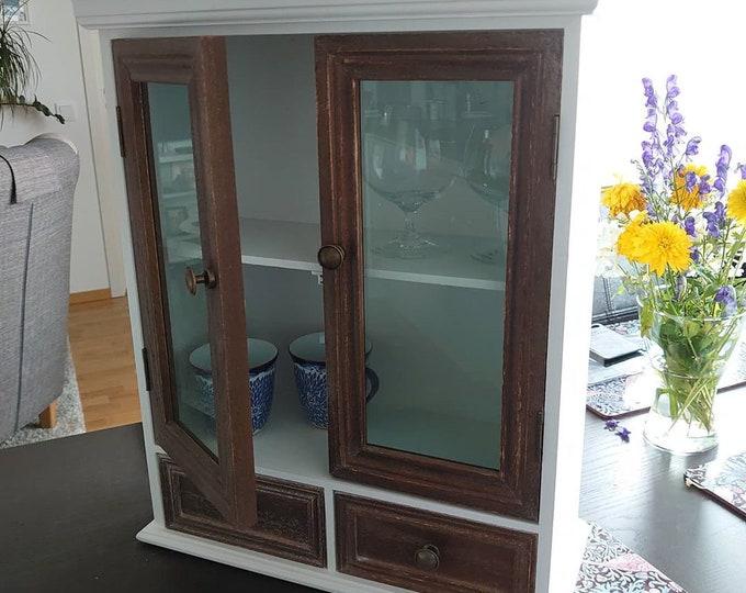 Kitchen Wall Cabinet Glass Doors Shabby Chic Hanging Cupboard Hallway Bathroom