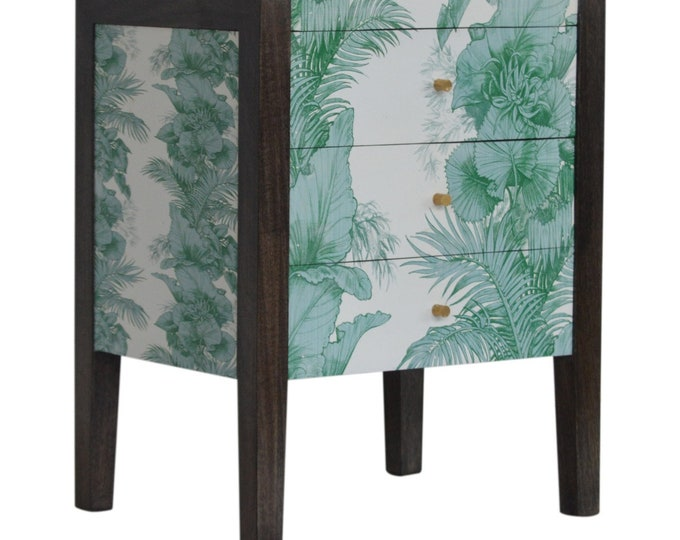 Unique Mid Century Modern Bedside Table Slim Bedroom Furniture Handmade Solid Mango Tropical Print Unit Nightstand Chest of Drawers