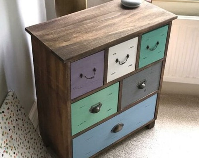 Shabby Chic Chest of 6 Drawers Solid Wood Slim Cabinet Narrow Side Table Dresser Rustic