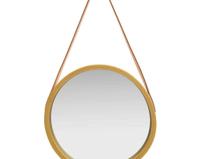 Wall Mirror Gold Frame Hanging Decoration with Faux Leather Strap Belt 40cm