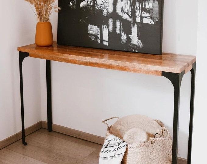 Industrial Console Table Slim Narrow Hallway Furniture Sideboard Mango Wood Vanity Dressing Table Entryway Handmade