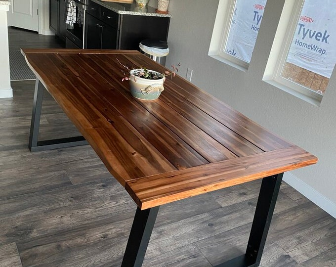 Large Dining Table Industrial Rustic Vintage Kitchen Meeting Solid Acacia Wood Conference Desk