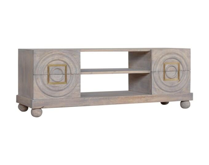 Solid Mango Wood TV Unit Stand Cabinet Console Sideboard Media Rustic Acid Wash Brass Inlay Handmade