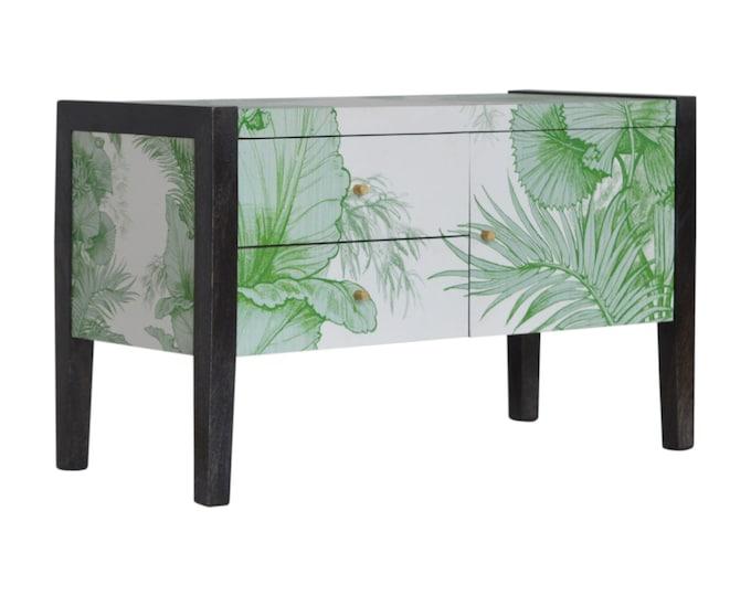 Mid Century Modern TV Unit Slim Living Room Furniture Handmade Solid Mango Tropical Print Unit Media Cabinet