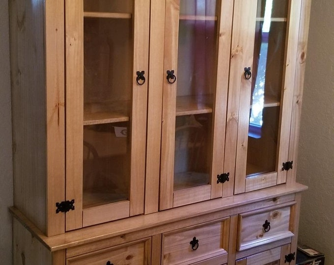 Display Cabinet with Glass Doors Buffet and Hutch Solid Pine Sideboard Storage Cupboard Rustic Country Style