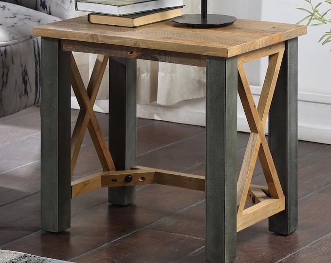 Reclaimed Side End Table Industrial Plant Stand Bedside Nightstand Urban Lamp Telephone Table