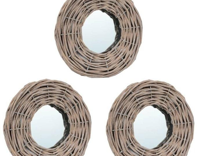 Set of 3 Wall Mirrors Round Wicker Handmade Boho Rattan Decor Mirror