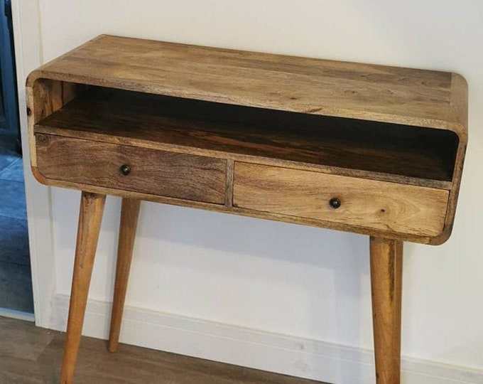 Narrow Hallway Console Table Retro Scandinavian Style Hall Table With Drawers Entryway Small Solid Wood Handmade