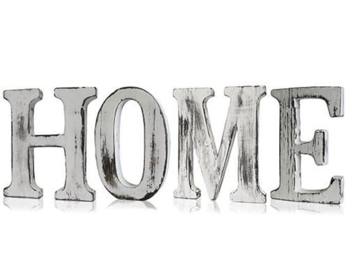 Shabby Chic Letters Handmade White Wash Finish Mango Wood Home Decoration