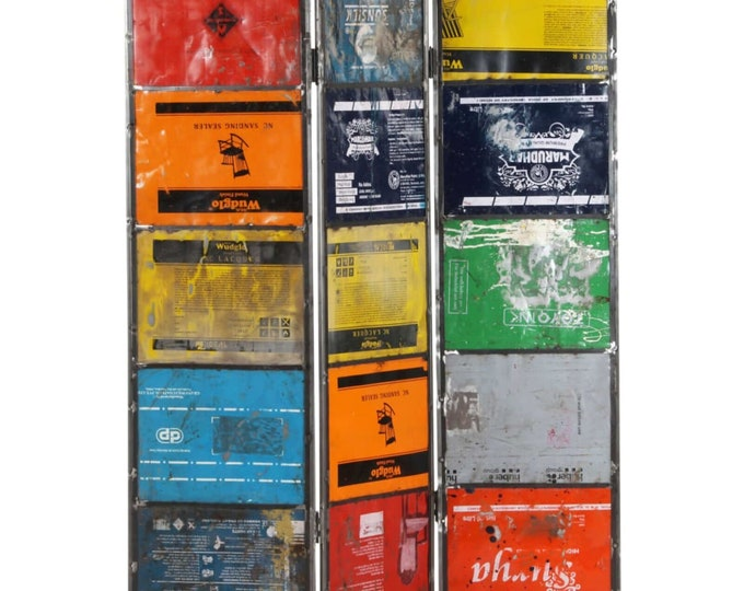 Industrial Room Divider Reclaimed Paint Barrel Panels Privacy Screen Folding Freestanding
