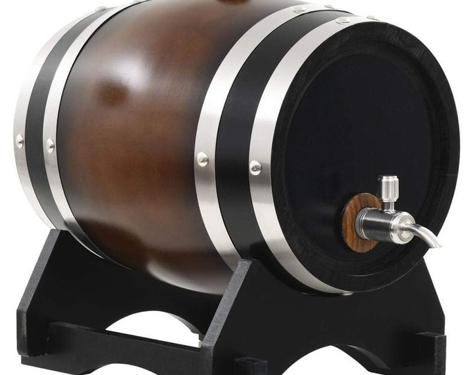 6L Wooden Wine Barrel Dispenser Tabletop w/ Stand Holder Bar Party Storage Pine