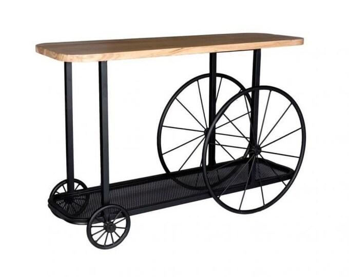 Industrial Hallway Console Table Rustic Vintage Style Slim Sideboard Handmade Sofa Table Solid Mango Wood