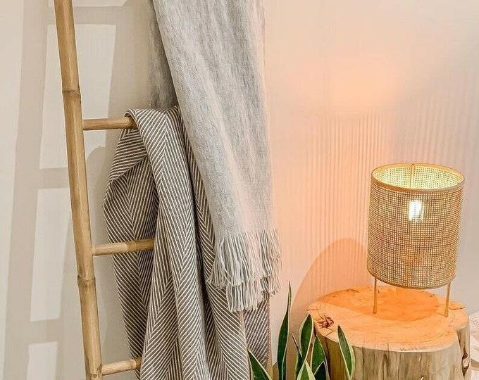 Tall Bamboo Blanket Towel Ladder with 5 Rungs Bathroom Rack Decor Shelf Boho Bohemian Rustic 150 cm