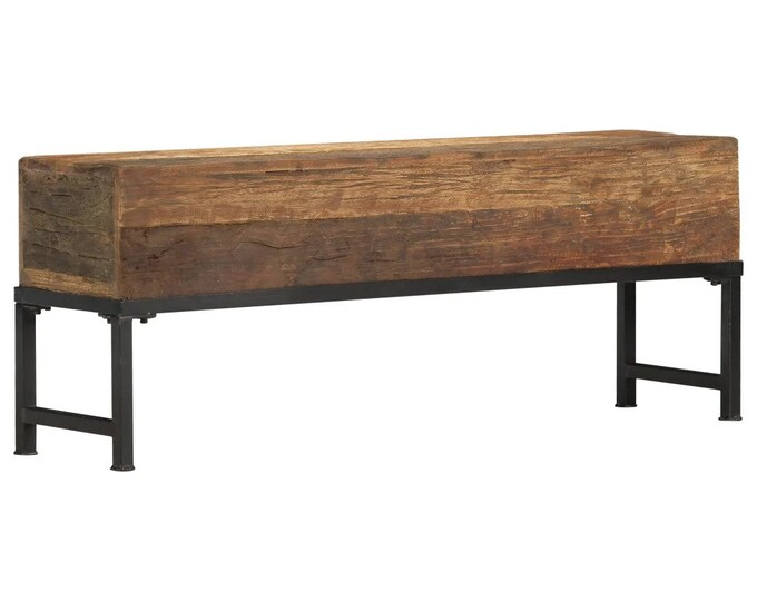 Reclaimed Bench Seat Solid Dark Wood Industrial 2 Seater Hallway Rustic