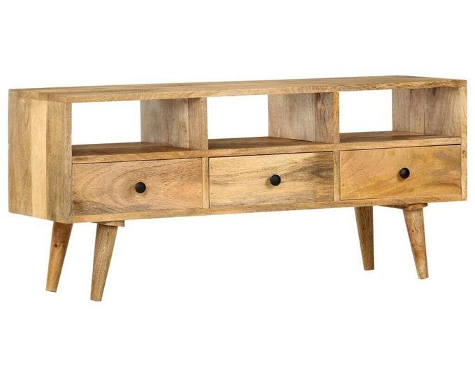 Industrial Style TV Unit Solid Wood Stand Slim Media Lowboard Cabinet Vintage Storage