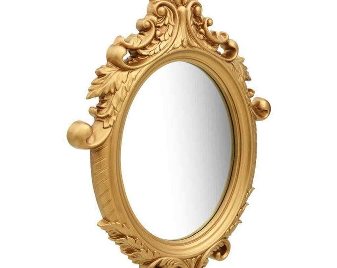 Gold Ornate Wall Mirror Antique Style Hanging Decor Vanity Oval Bedroom Hallway