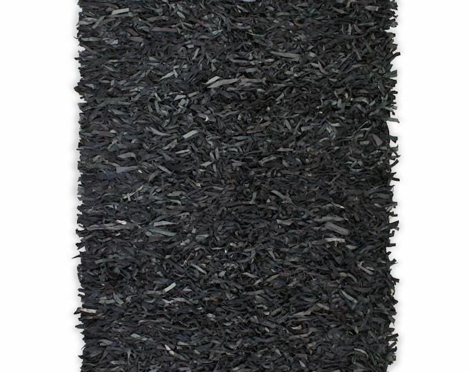 Handmade Shaggy Area Rug Genuine Leather Dark Grey Floor Carpet Mat