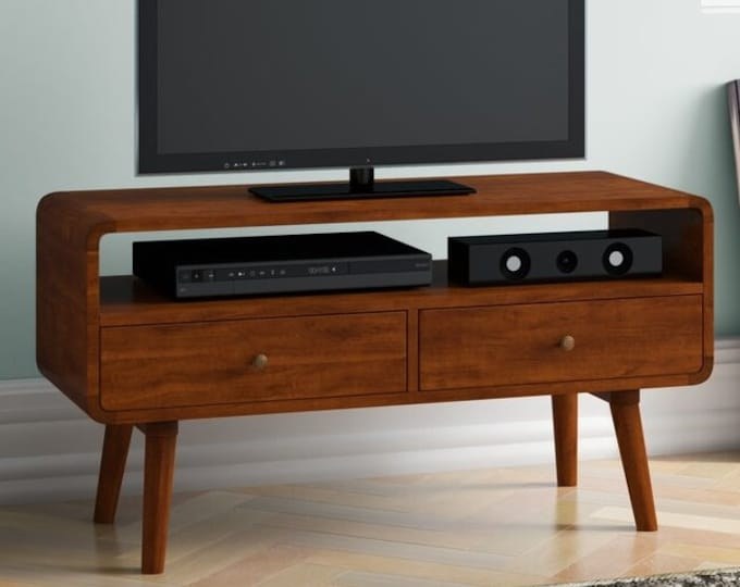 TV Unit Solid Mango Wood with Drawers Handmade Media Cabinet Stand Scandinavian Retro Style Lowboard