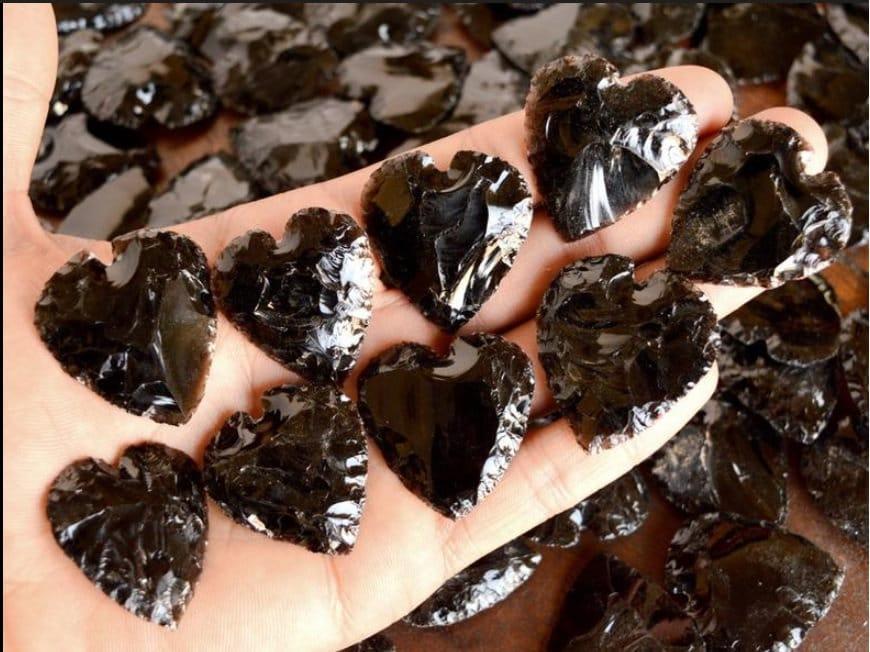 Черное обсидиановое сердце, кварцевые хрустальные сердца, резьба по форме сердца Big Size Stones