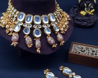 Jaipuri Polki Kundan Tanjore Ruby Bead Pendant Set