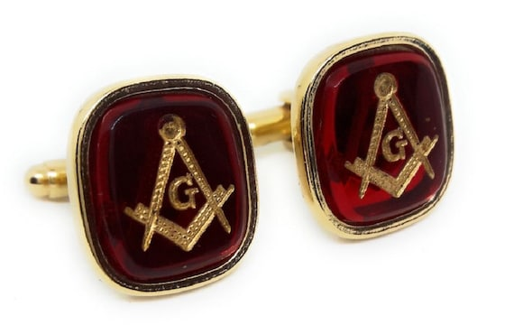 18KT Gold Plated Crystal Masonic Insignia Cufflinks and Studs