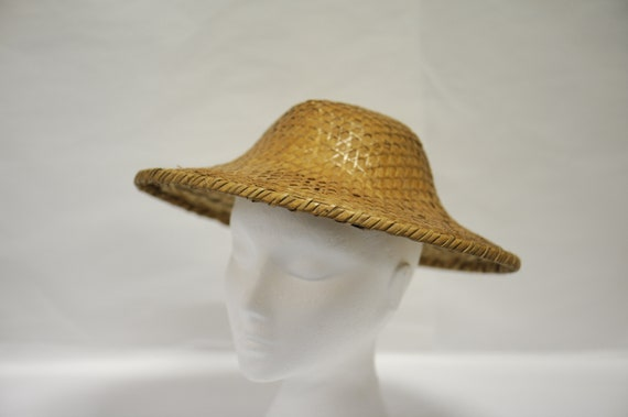 Vintage RARE 1960s bamboo rattan hand woven Chines