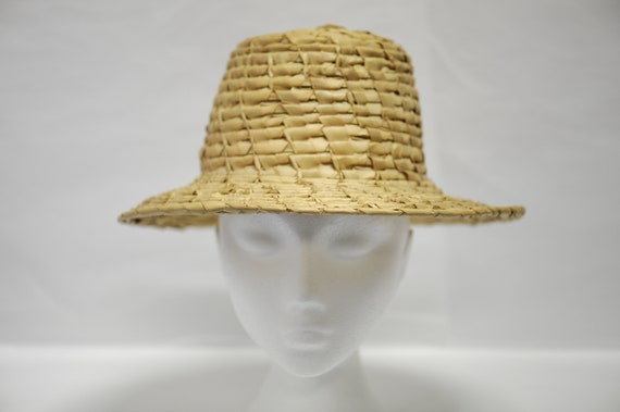 Vintage 1960s straw and rattan hand woven summer h