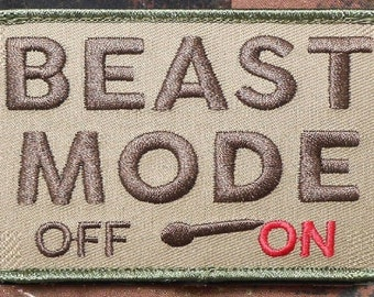 SOUTHYU Beast Mode Activated On Tactical Morale Patch Military Combat Embroidered Badge Hook and Loop Patch Emblem