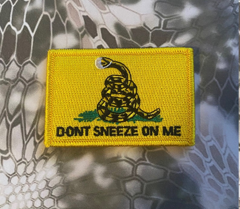 HooK Fastener Backing Dont Sneeze On Me Face Mask Yellow