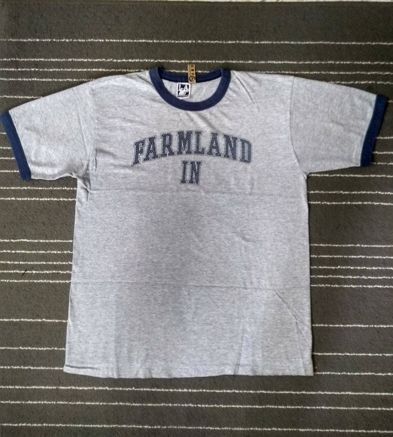Tshirt Vintage Ringer FARMLAND IN Made In USA