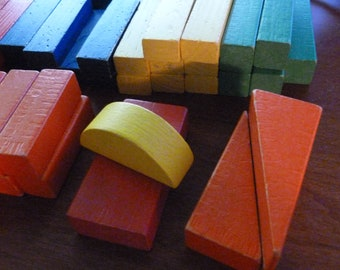 Vintage TootsieToy Colorful Wood Building Blocks - Over 45 Blocks, Colored and Natural Wood Building Blocks