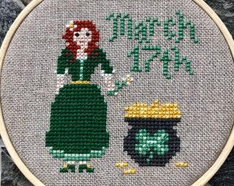 St. Patrick's Day Cross Stitch Pattern, Instant PDF Download - Miss March, Mini Maids #1