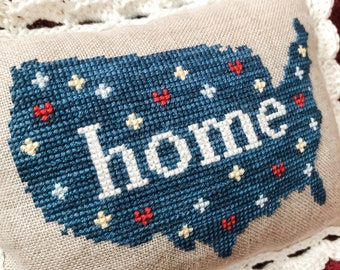 Patriotic Cross Stitch Pattern, USA Map - Home - Instant Download PDF chart